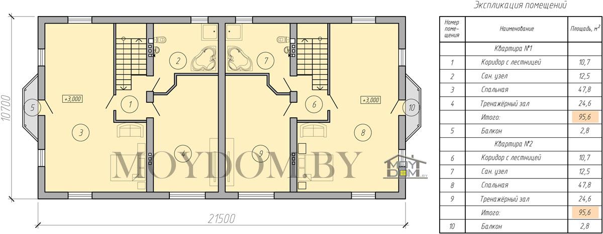 план двухэтажного блочного двухквартирного дома второй этаж