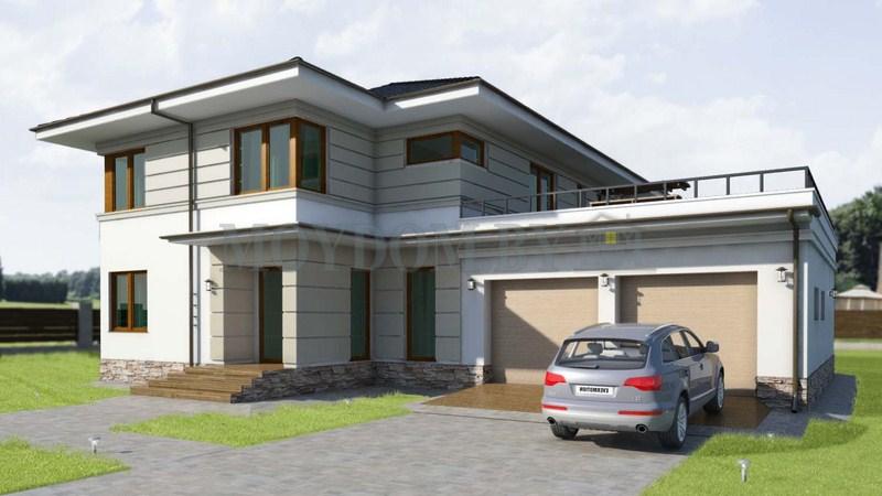 проект фото современного двухэтажного дома с гаражом на две машины 300 м.кв