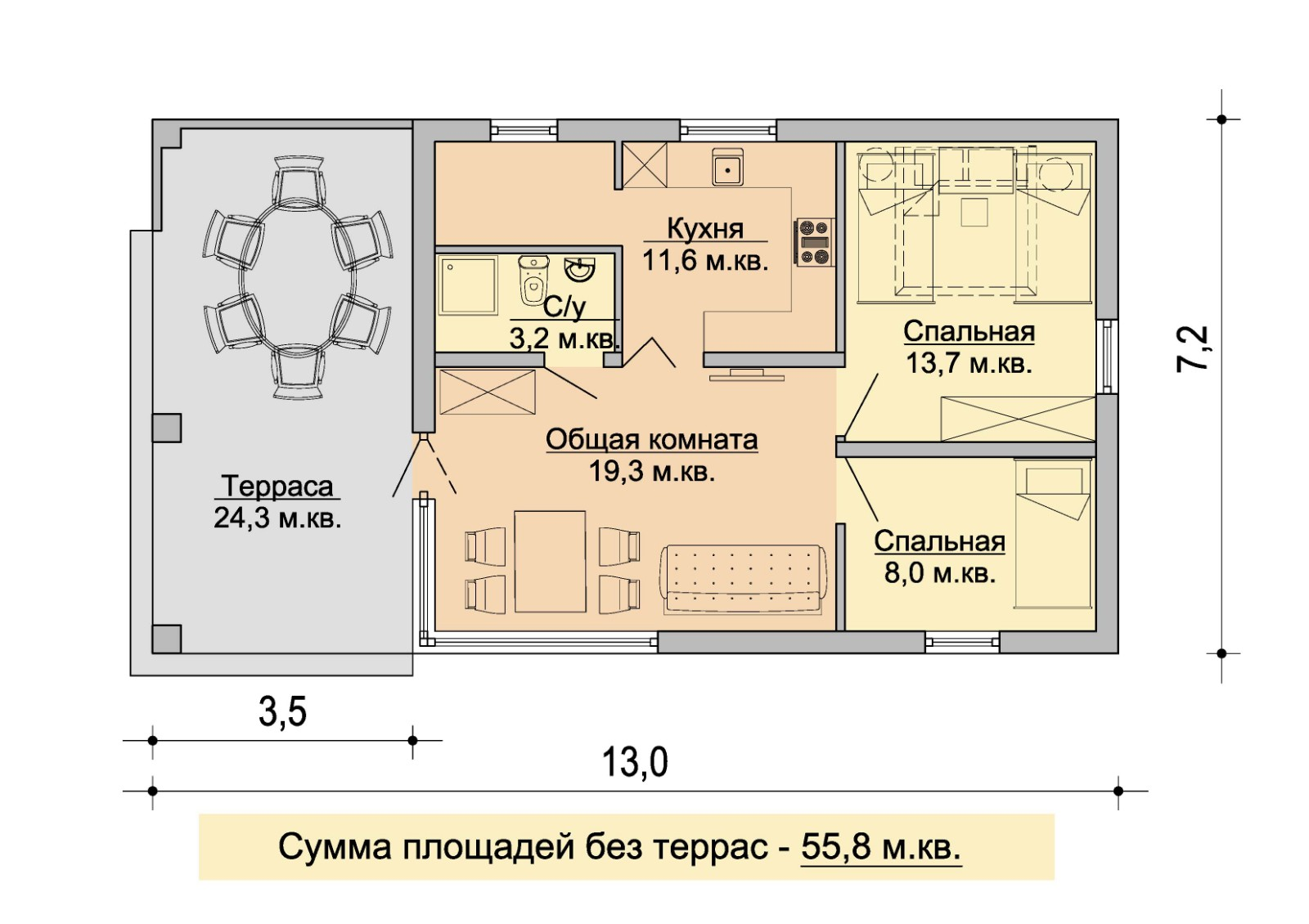 план домика с двумя комнатами и террасой
