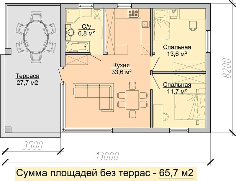 план небольшого дома с двумя спальнями 13 на 8