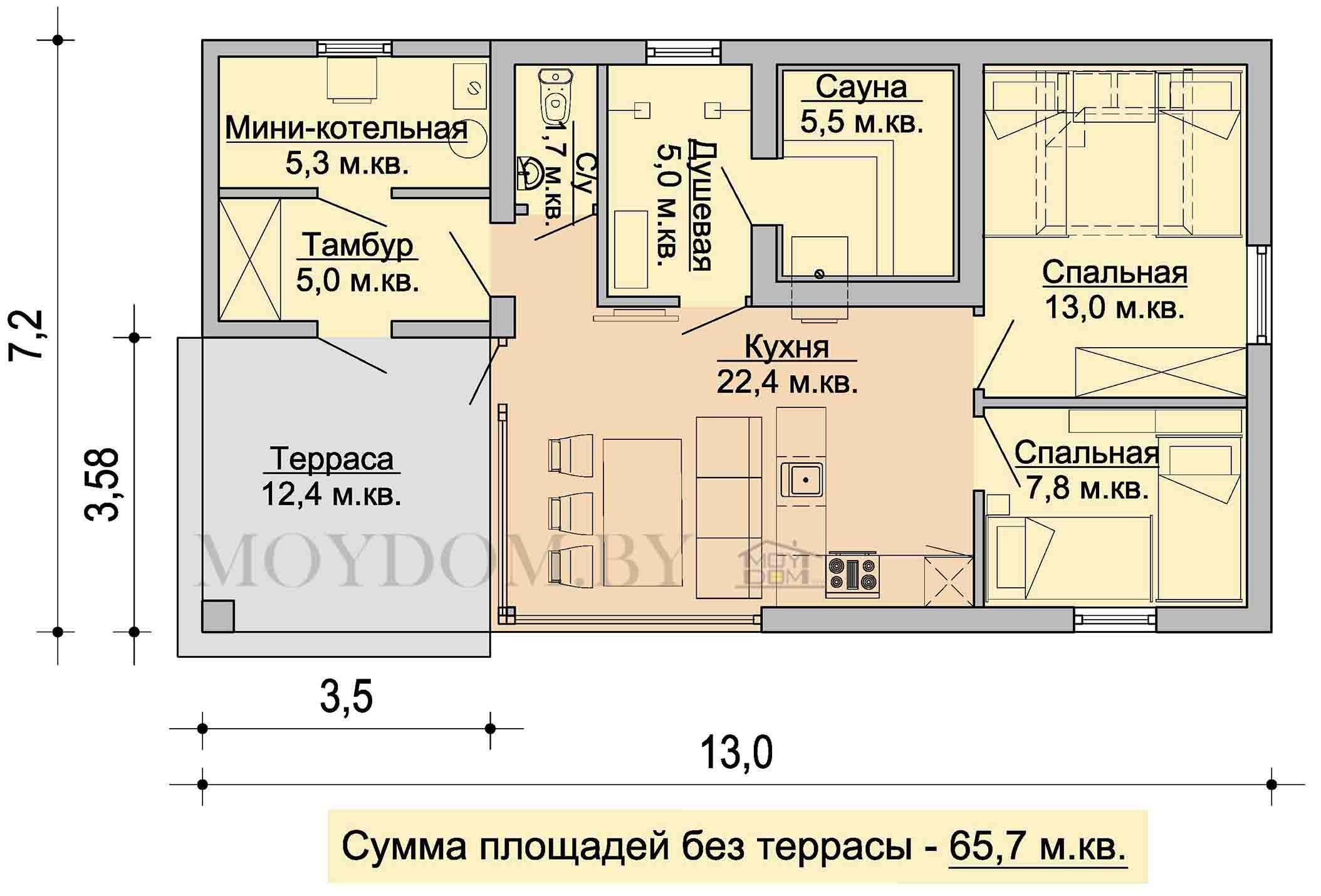план дома-бани с двумя комнатами