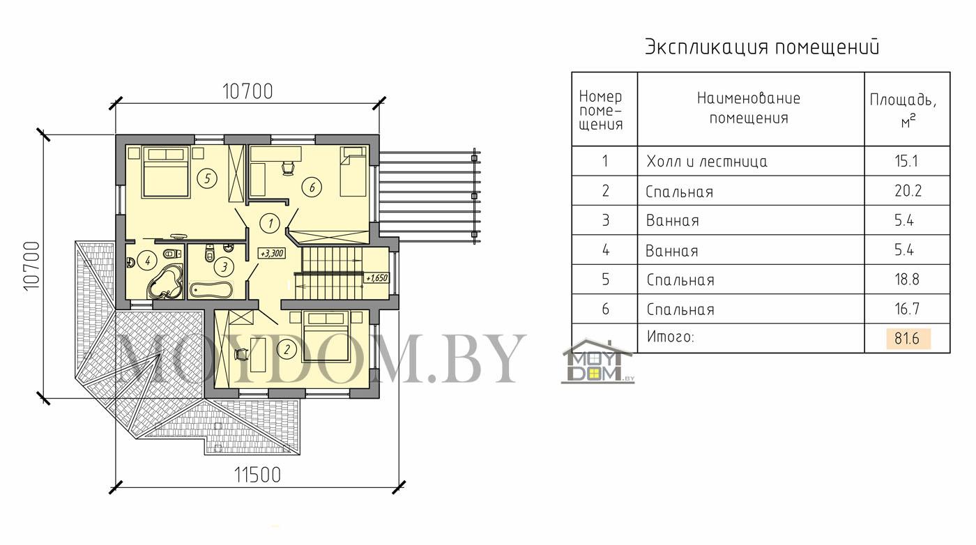 проект двухэтажного дома план верхний этаж