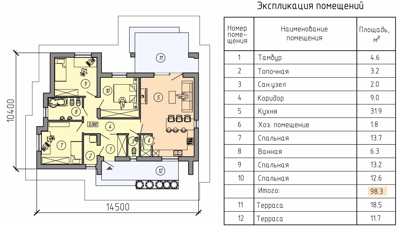 план одноэтажного дома с плоской крышей