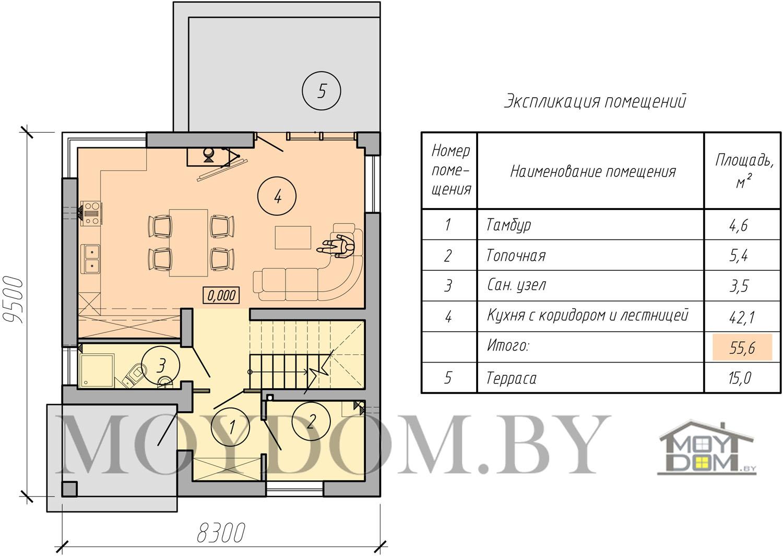 план двухэтажного дома с плоской крышей