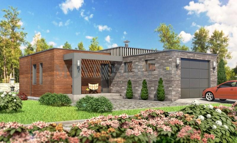 проект одноэтажного дома с двумя спальнями и с гаражом