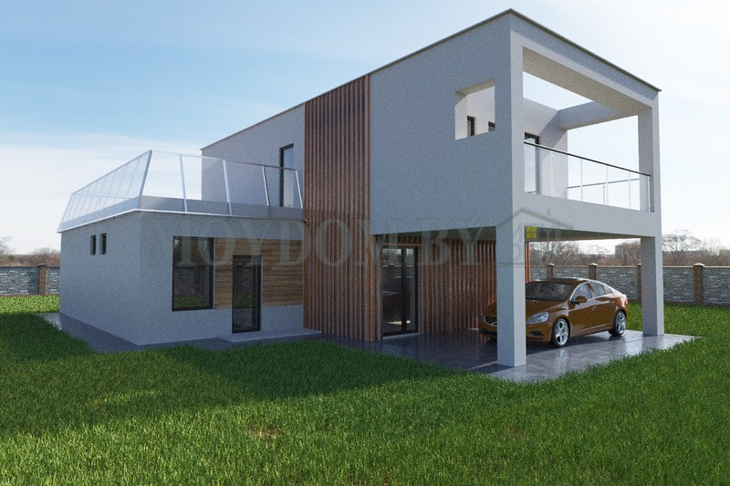 фото современного построенного дома в стиле хай-тек с навесом, вторым светом, сауной 180 м.кв