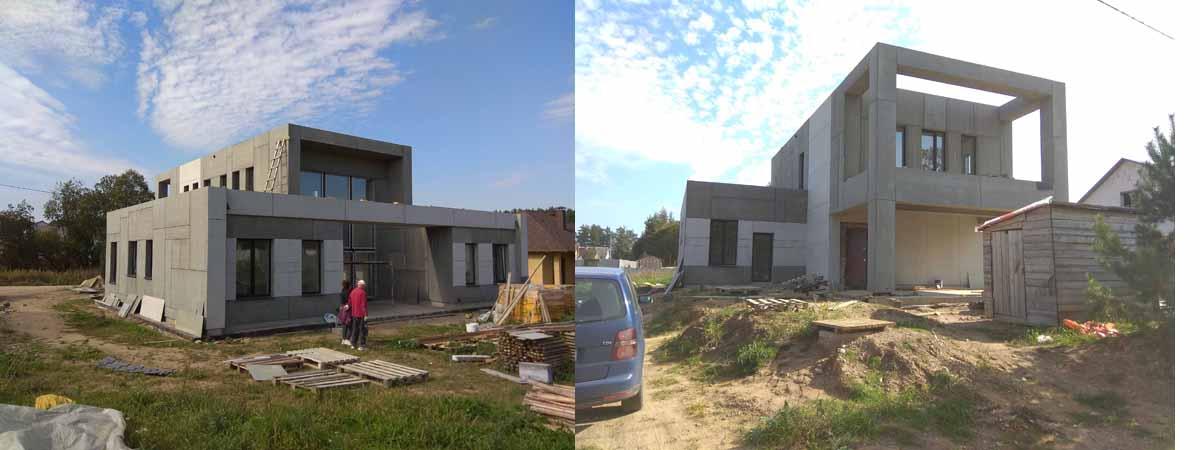 фото современного построенного дома в стиле хай-тек с навесом и вторым светом 180 м.кв