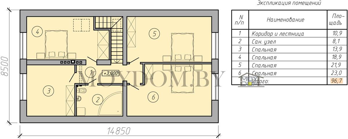 план мансардного дома изображение второй этаж