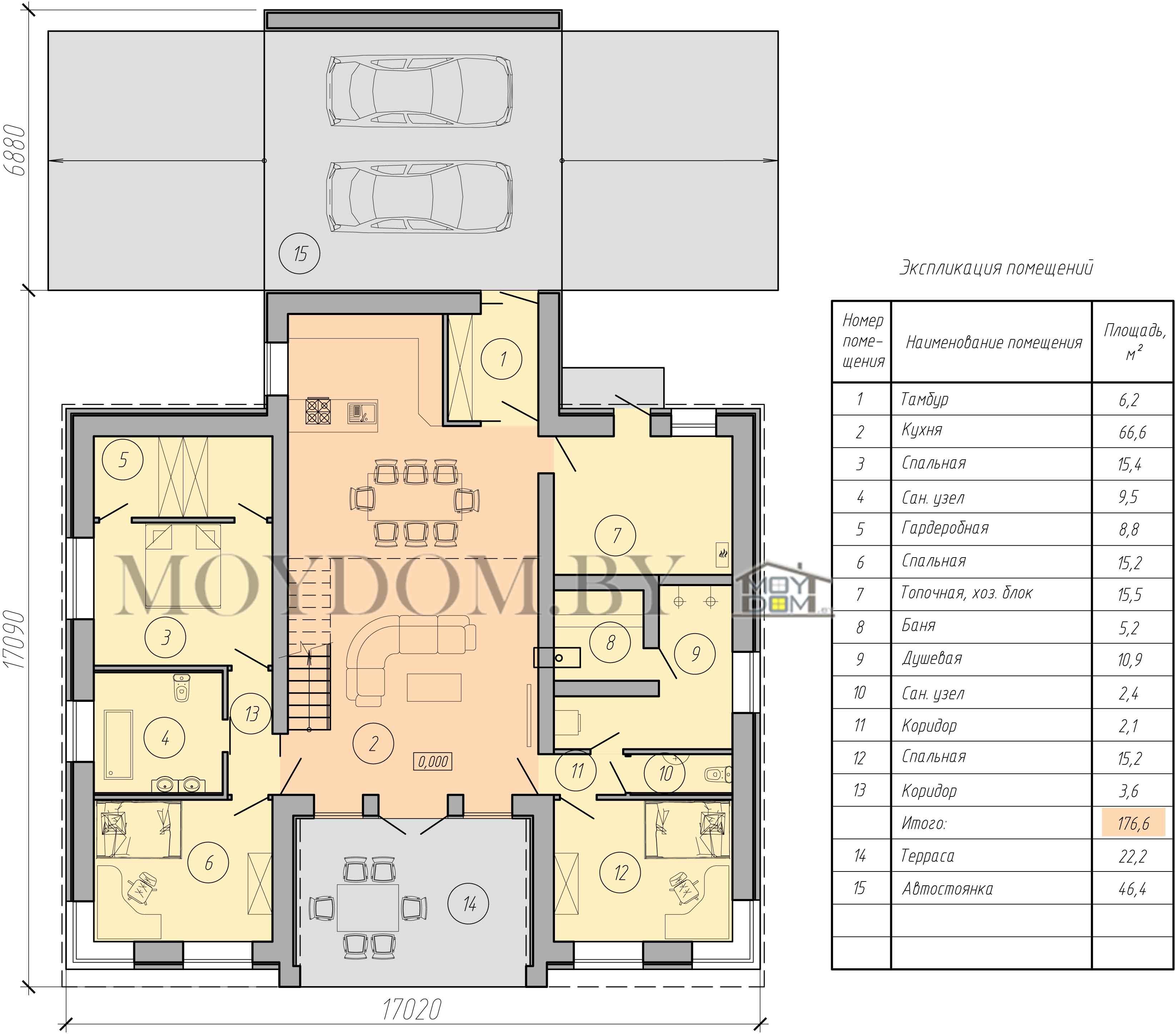 проект двухэтажного дома с гаражом изображение