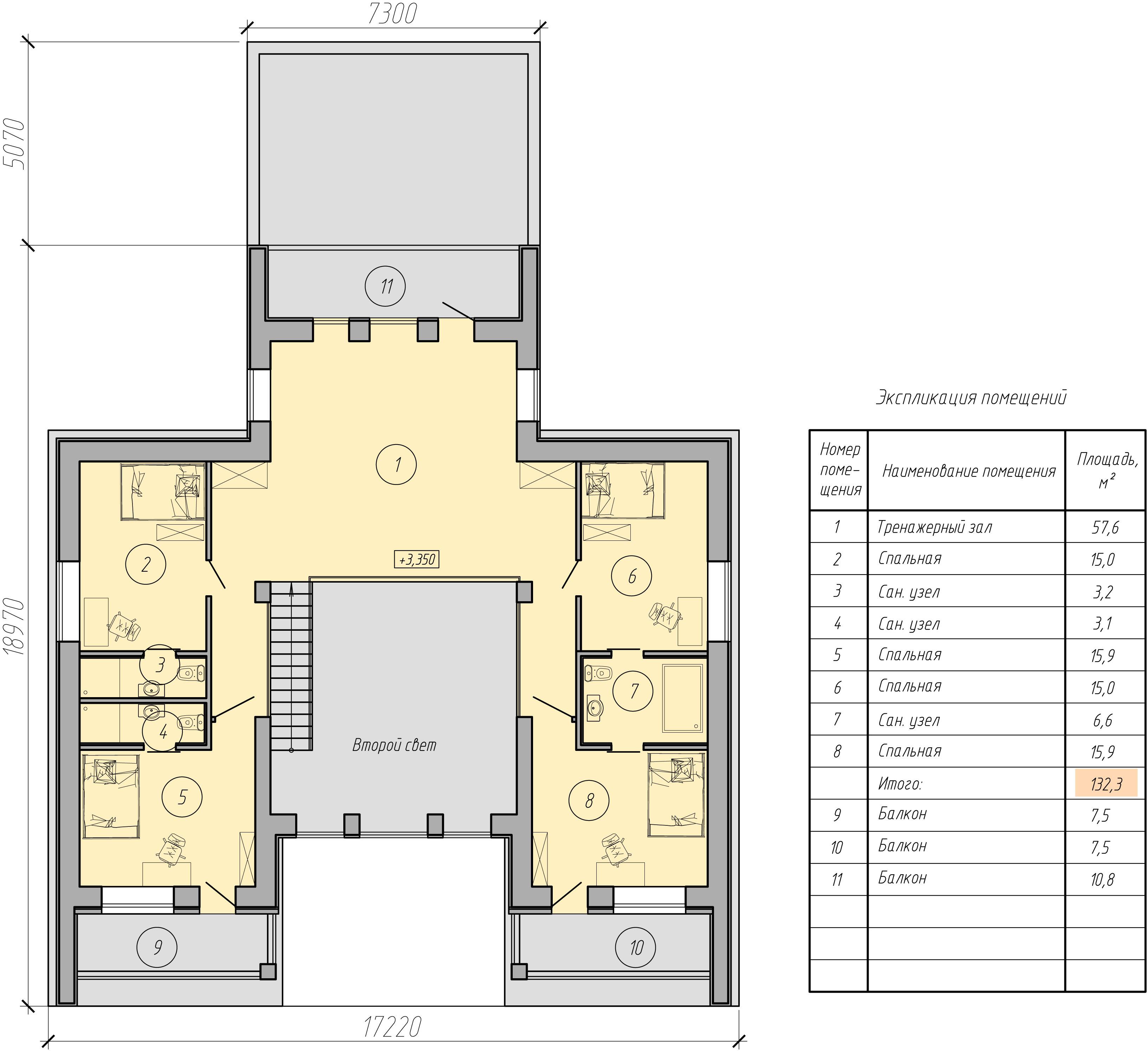 проект двухэтажного дома с гаражом второй этаж изображение