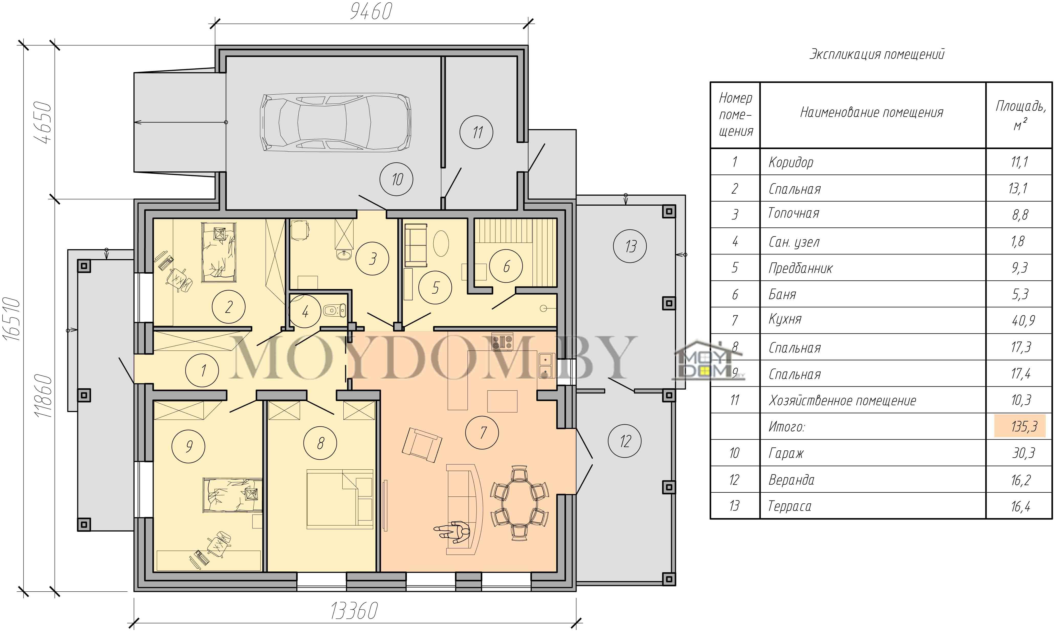 изображение проекта одноэтажного дома