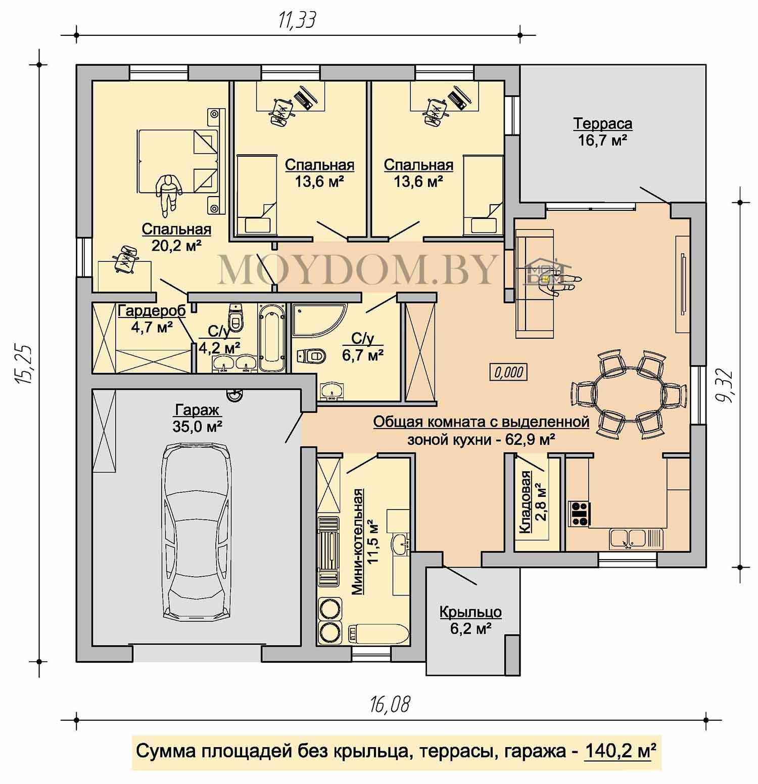 план этажа одноэтажного дома