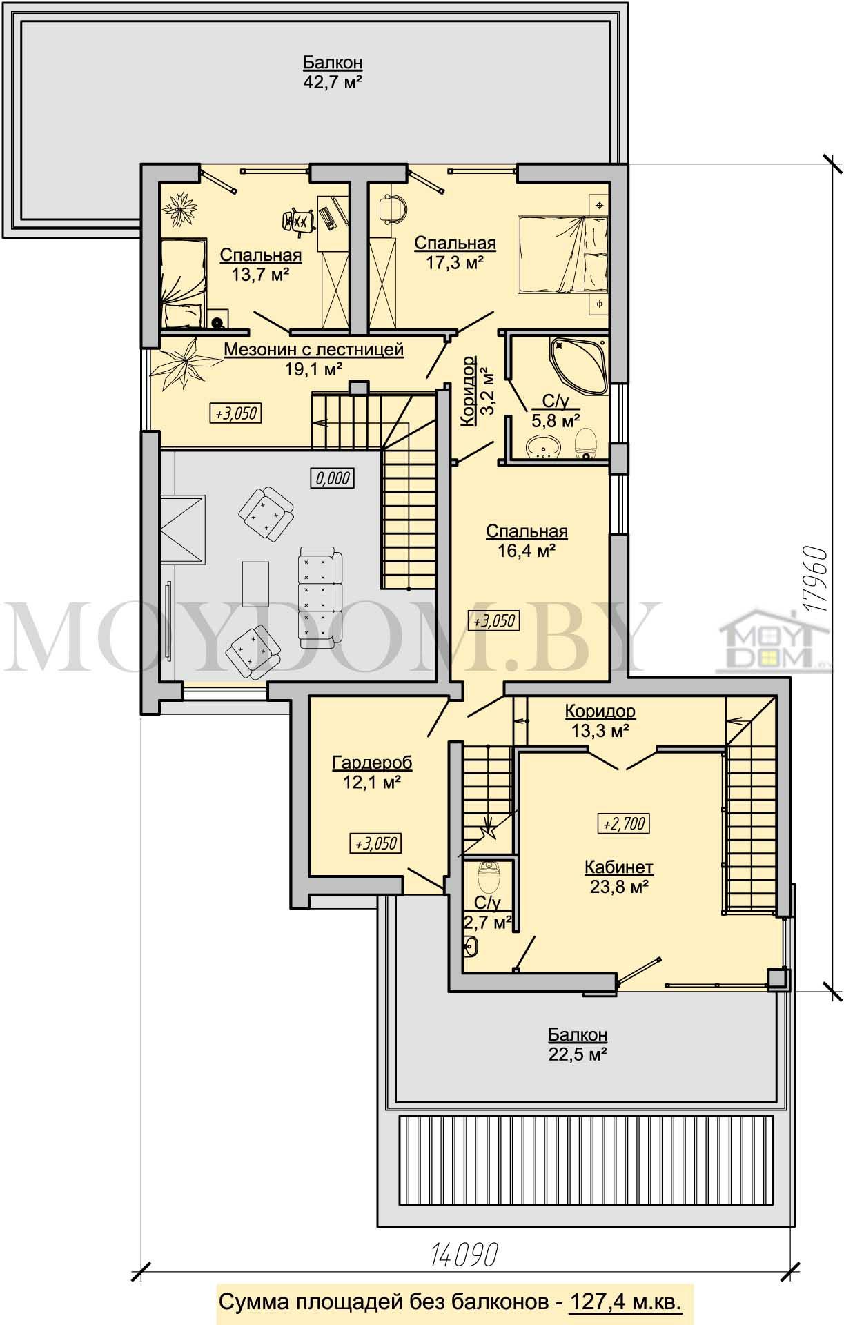 план второго этажа с кабинетом