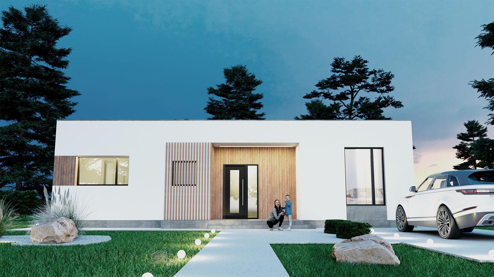 фото одноэтажного современного дома 898 с тремя спальнями