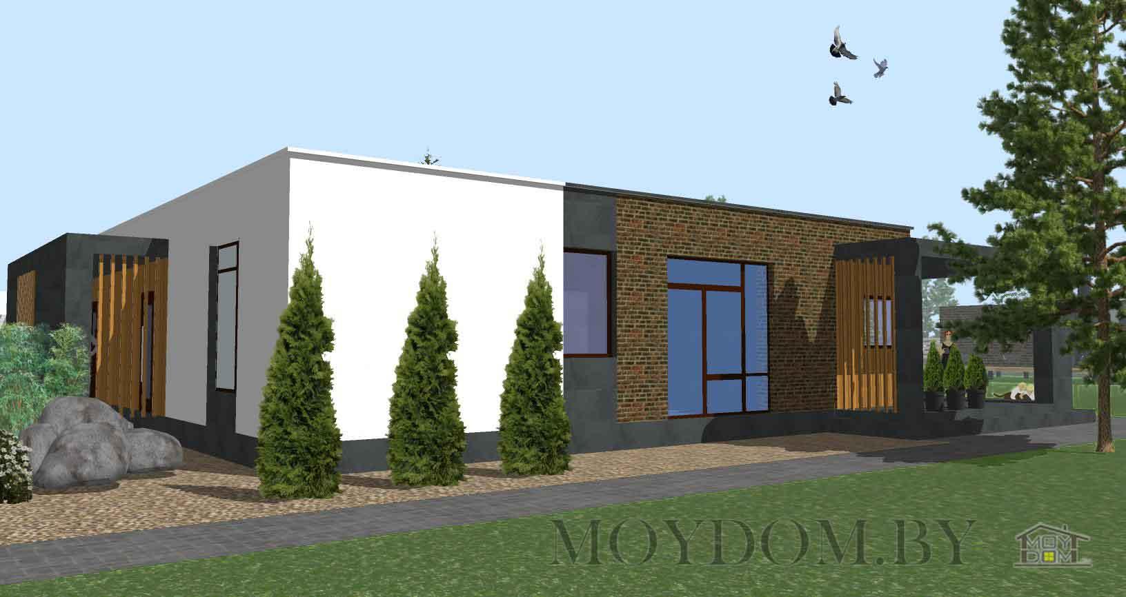 Проект одноэтажного современного дома 902 вид с плоской крышей и тремя спальнями