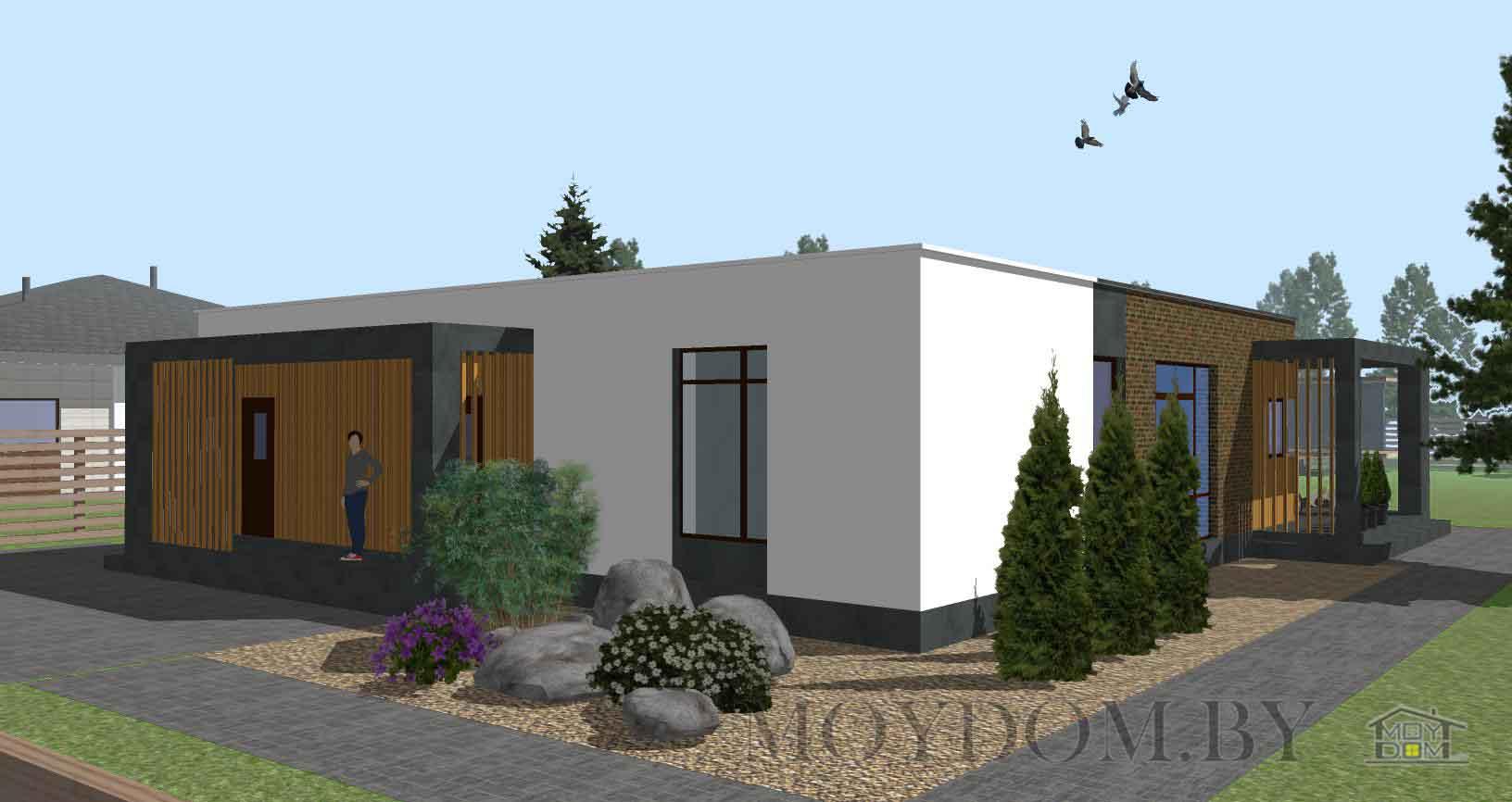 Проект одноэтажного современного дома 902 с плоской крышей и террасой