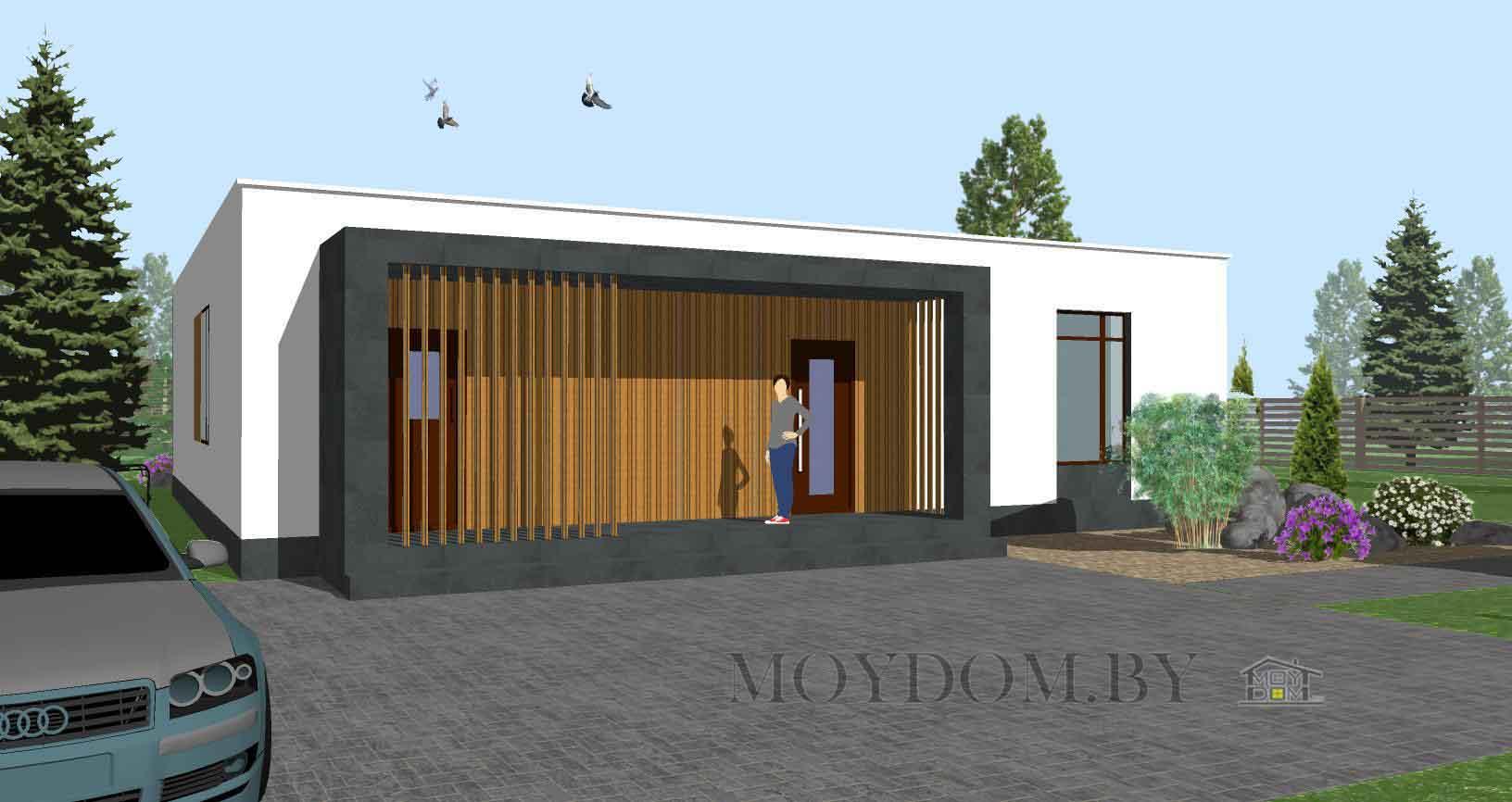 Проект одноэтажного современного дома 902 с тремя спальнями