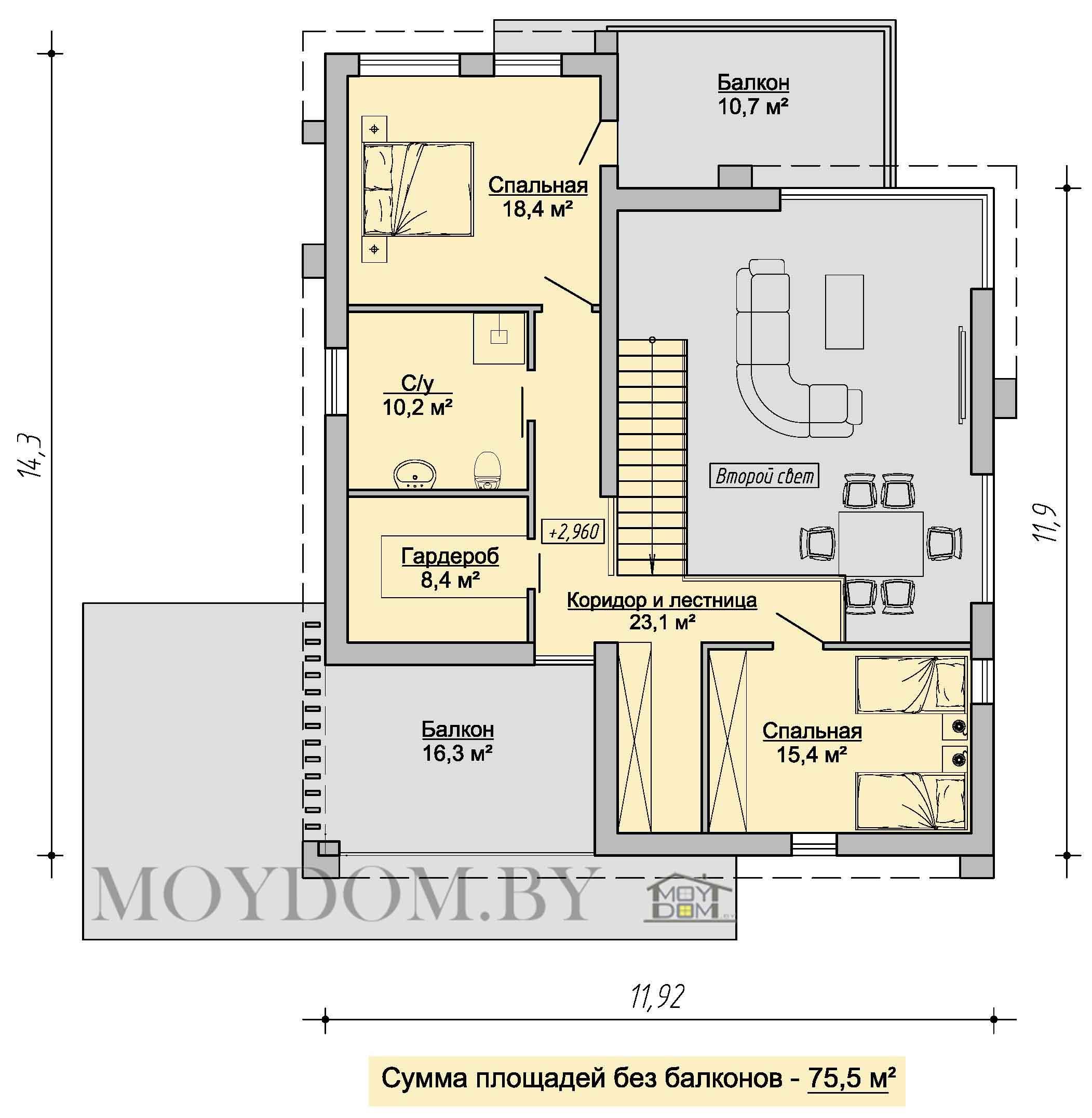 план второго этажа современного двухэтажного дома 906