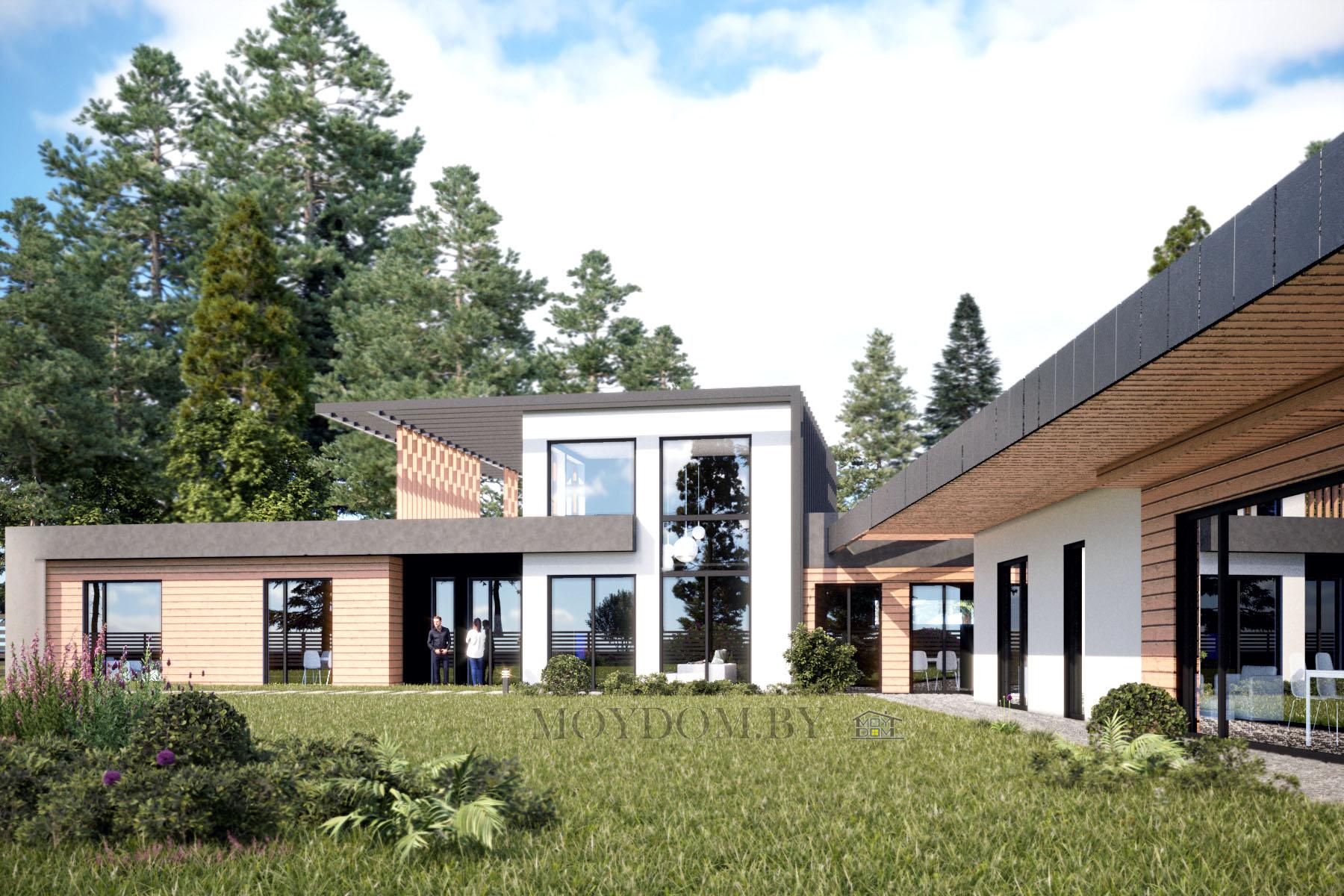 фото проекта одноэтажного дома 909  со вторым светом на две машины плоской крышей четырьмя спальнями