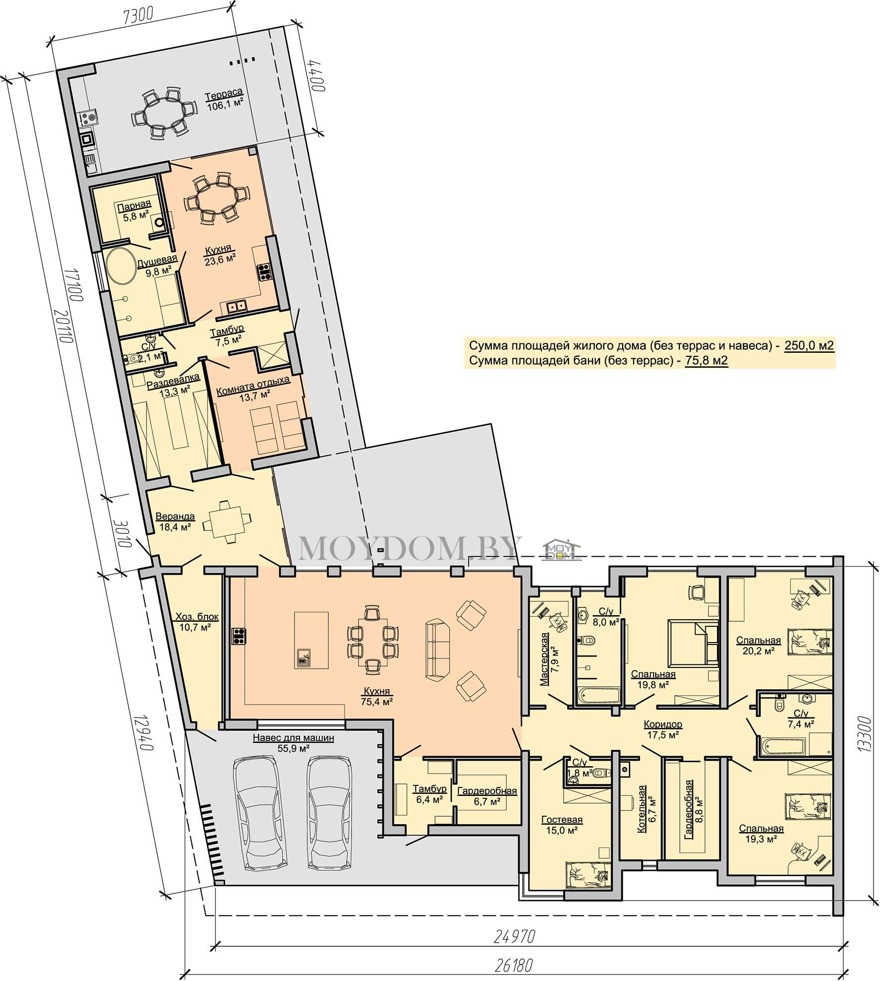 план этажа одноэтажного дома с навесом и баней 909