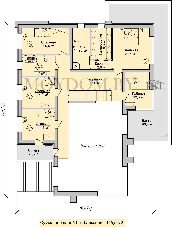 план современного дома второго этажа