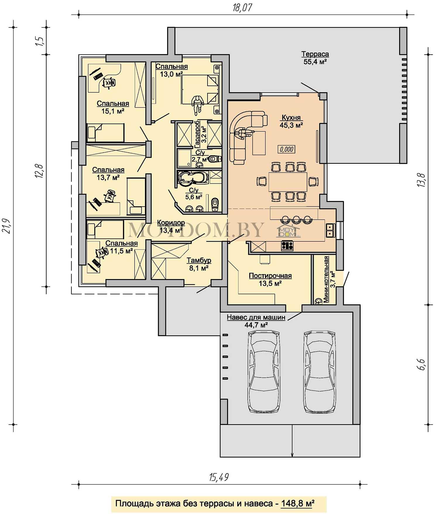 план этажа одноэтажного дома с навесом и террасой 927