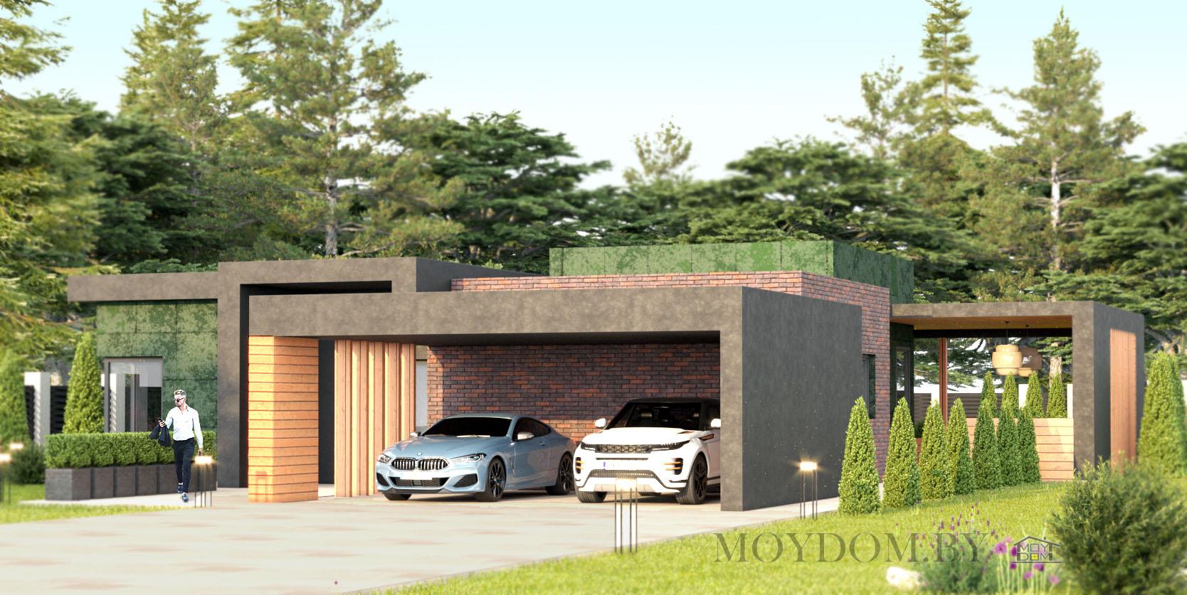 проект современного одноэтажного дома 927 с плоской крышей