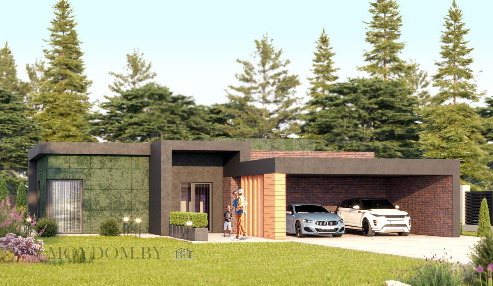 проект одноэтажного дома 927 с плоской крышей и навесом