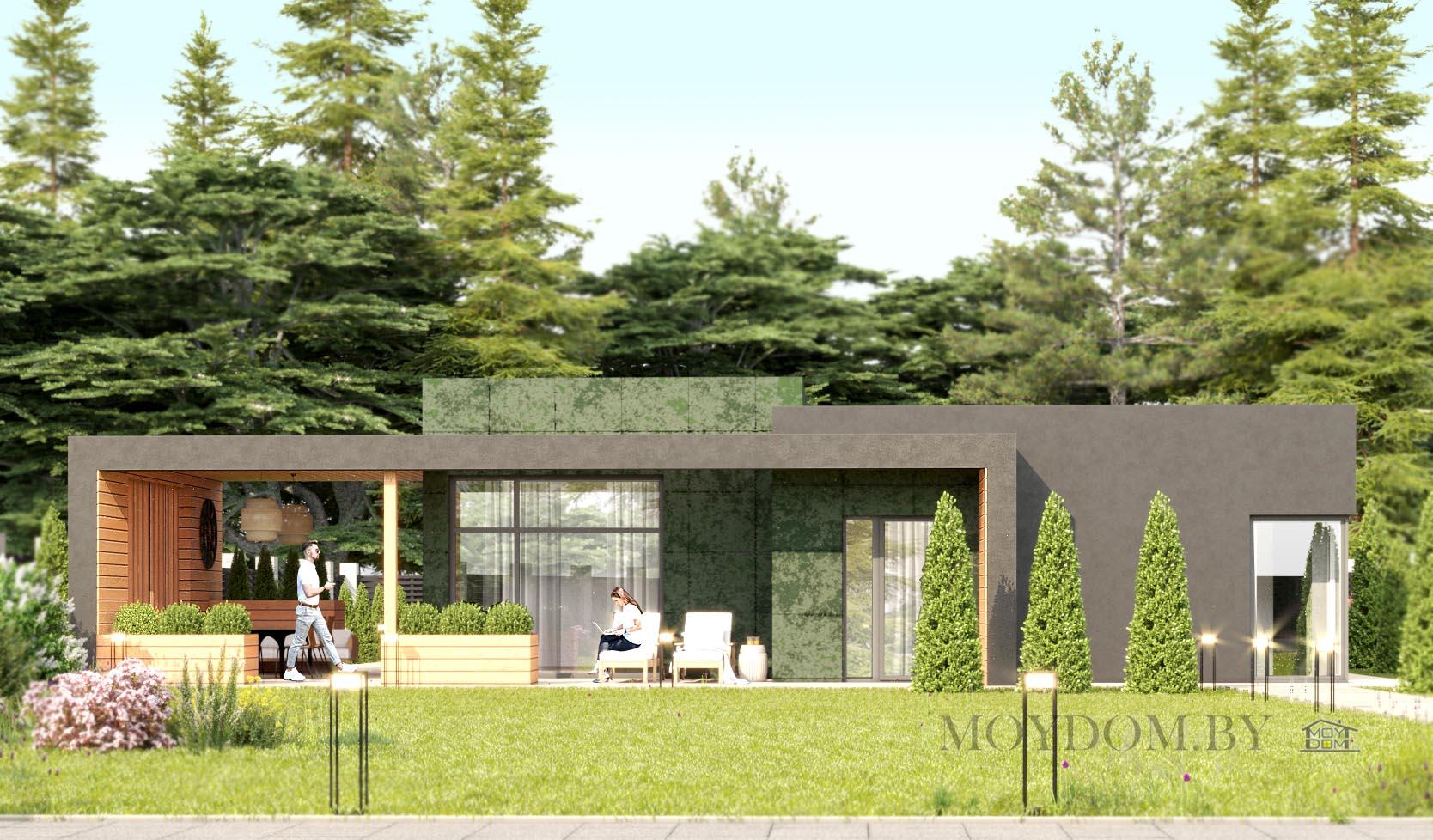 фото проекта одноэтажного дома 927 с плоской крышей 4 спальни и террасой