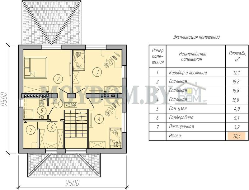 план двухэтажного дома второй этаж фото