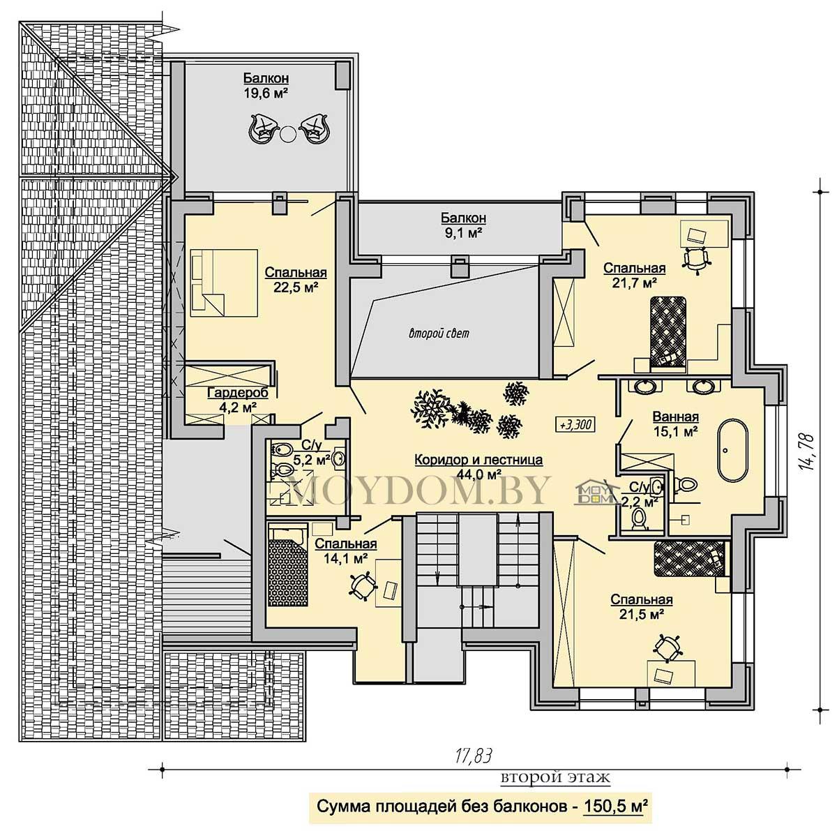 план второго этажа с тремя комнатами и вторым светом